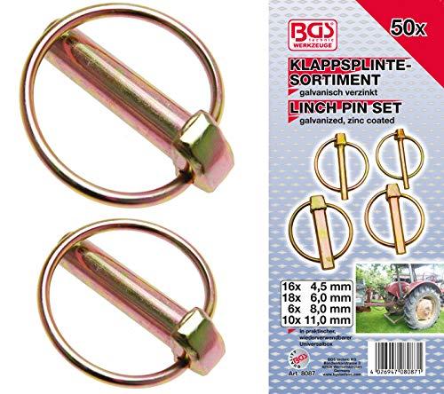 BGS 8087 | Klappsplinte-Sortiment | 50-tlg. | Klappstecker | verzinkt | 4,5 - 6 - 8 - 11 mm