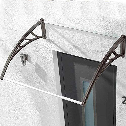 Bakaji Pensilina In Policarbonato Trasparente Per Porte E Finestre Tettoia Modulare Da Esterno Giardino Terrazzo Balcone Colore Nero (80 X 100 Cm)