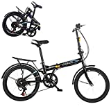 20-inch Folding Bike, 7-Speed Cycling Commuter Foldable Bicycle for Adult Student,Lightweight Aluminum Frame Foldable Adult Bicycle for Outdoor Sports (from US, Black 1)