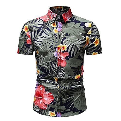 Strandshirt Herren Modern Urban Mode Hawaiianischer Stil Herren Shirt Sommer Slim Fit Strickjacke Herren Kurzarm Casual Urlaub Atmungsaktives Henley Hemd HZ20 XL