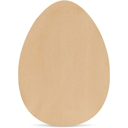 Children DIY Game Stain Display 6 Pieces Decorate Easter Crafts Paint Wooden Easter Chicken Eggs 2.4 x 1.8 Inches Unpainted Wood Fake Easter Eggs for Party Decoration