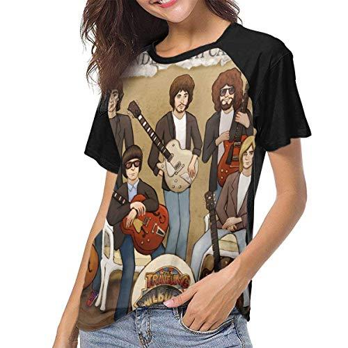 Yuanmeiju Camiseta para Mujer,Camisa Traveling Wilburys Women's Baseball tee Short Sleeve Round Neck Casual Tops y Blusas