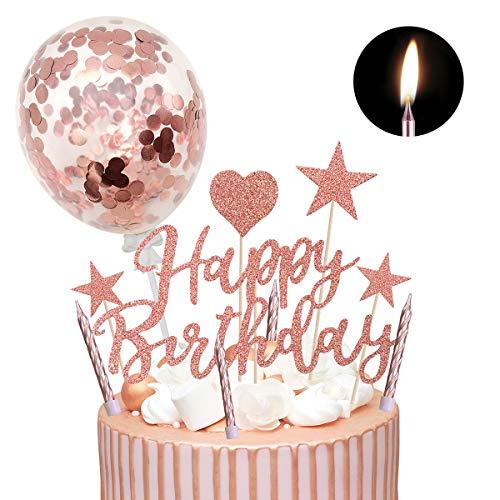 Humairc Kuchendeko Happy Birthday Sterne Cake Topper 10pcs Geburtstagskerzen Metallisch Kuchenkerzen Tortendeko Rosegold