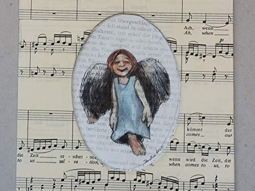 Geschenk für Musiker, Kunstdruck, Schutzengel für Buchliebhaber, Lächelndes Engelchen auf Buchseiten, Passepartout aus Notenpapier, Taufe, Kinderzimmer