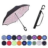 Umbrella,Large Inverted Reverse Windproof Waterproof Umbrellas (pink strip)