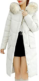 Women Winter Coat Faux Fur Hooded Collar Long Jackets Warm Thicken Padded Coat
