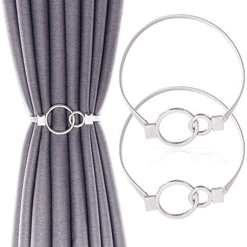Gernic 2 Pack Curtain Tiebacks,Alloy Drapery Holdback Window Curtain Ties Backs for Curtains Modern Simple Style Curtain tie Backs Decorative Curtain Holdbacks for Thin or Thick Home (Sliver Ring)