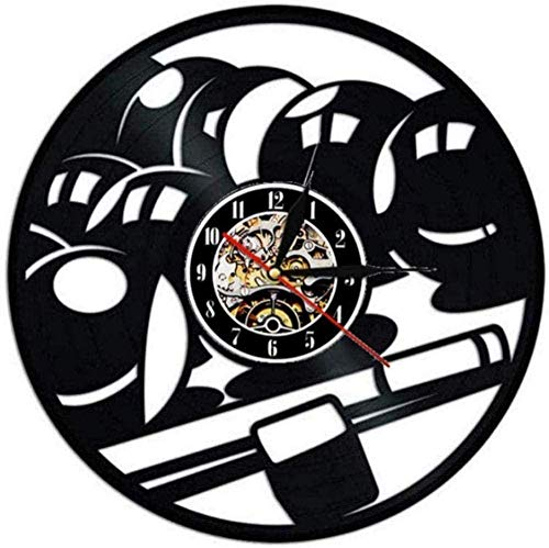 N-P Billar Piscina Disco de Vinilo Reloj de Pared Diseño Moderno Decoración de Sala de Estar Reloj Deportivo de Pared Reloj de Pared de Vinilo Decoración del hogar Reloj Mudo 12 Pulgadas
