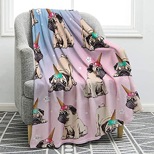 Manta con estampado de perros Husky Shiba Inu Pomeranian Bull Terrier suave manta para cama, sofá, regalo para niños, adultos, 127 x 152 cm