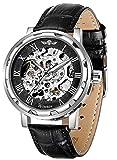 Men's Watch, Mechanical Skeleton Steampunk Design Automatic Self-Winding Roman Numeral Silver Case PU Leather Wrist Watch