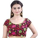 Chandrakala Women's Designer Bollywood Readymade Black Indian Style Saree Blouse Padded Brocade Choli-X-Small (B129BLA1)