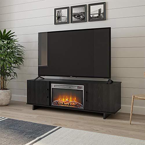 """Ameriwood Home Southlander Fireplace 60"""", Black Oak TV Stand,"""