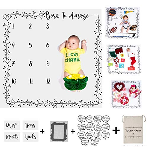 Baby Milestone Blanket Backdrop Premium Soft Fleece W/Bonus Photography Cards & Frame for Creative Moms, Unisex, Newborns to 12 Years, Boy Girl Shower Gender Reveal w Storage Bag