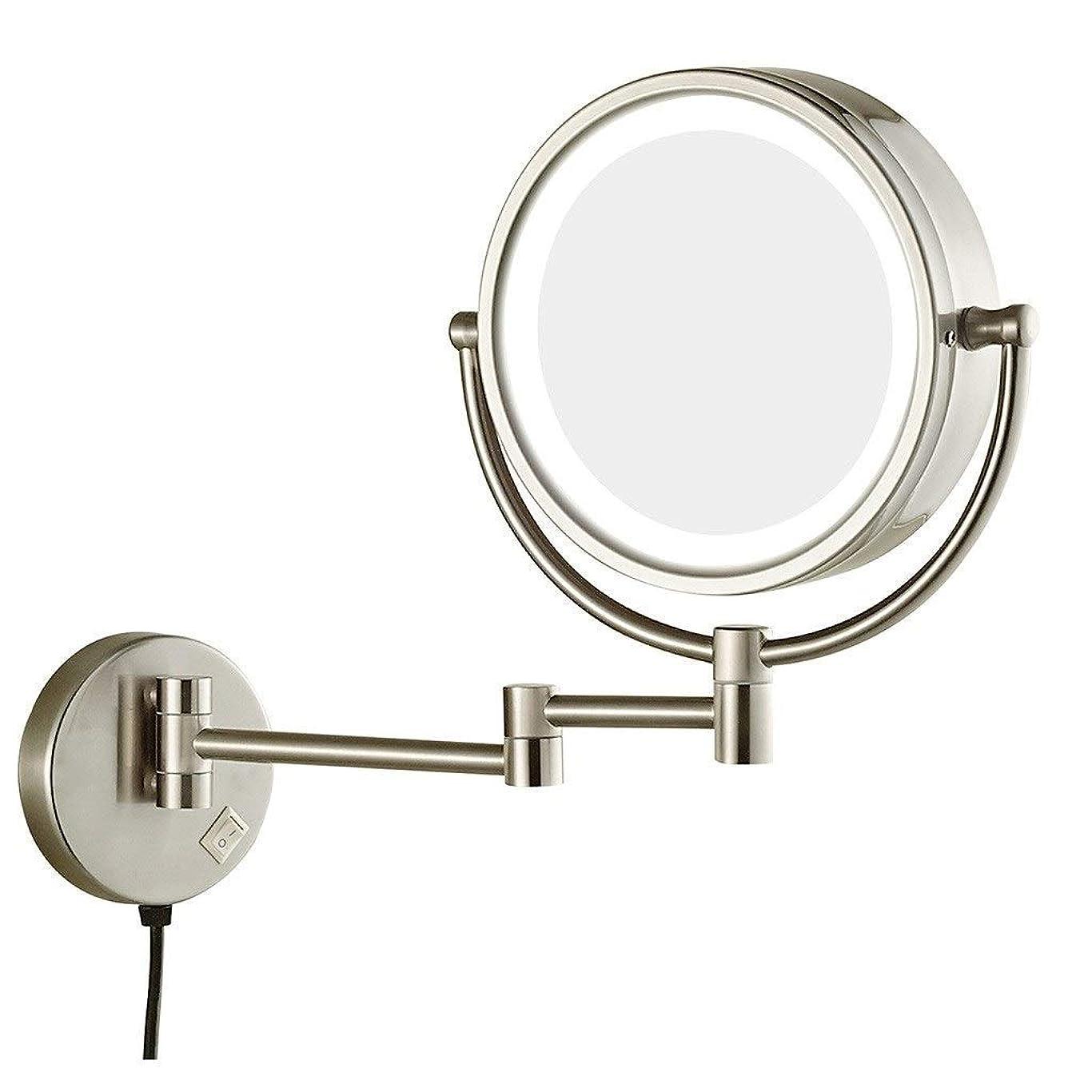 ぜいたくマット深い両面卓上化粧鏡、8インチLED化粧鏡付き調整可能なアームチルト簡単に配置7X拡大鏡付き壁掛けバニティミラー(色:ニッケルメッキ、サイズ:8インチ7X)