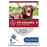 Bayer Animal Health K9 Advantix II Flea And Tick Prevention for Dogs, Dog Flea And Tick Treatment For Extra Large Dogs Over 55 lbs, 6 Monthly Applications