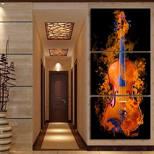 WADPJ Flaming Cello Instrumento Musical Paisaje Canvas Painting Poster Wall Art Print Picture Modern Living Room Home Decor-50x70cmx3 pcs sin Marco