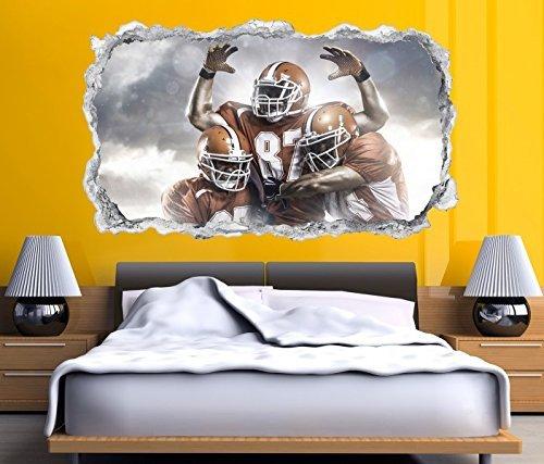 3D Wandtattoo American Football Touchdown Sport Wand Aufkleber Durchbruch Stein selbstklebend Wandbild Wandsticker 11N050, Wandbild Größe F:ca. 140cmx82cm