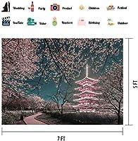新しい7x5Ft夜景の背景中国風建築写真の背景写真の桜の背景YouTube背景 172