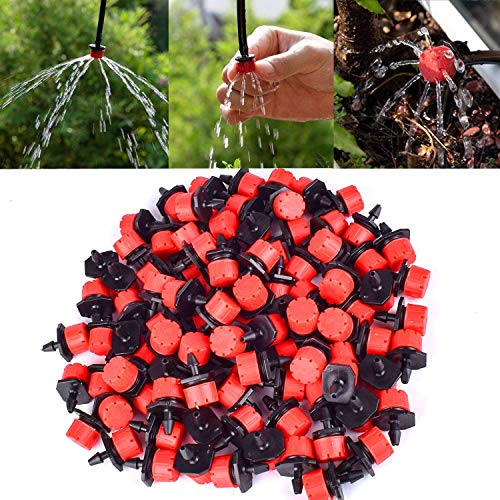 ZoneYan Gocciolatore Irrigazione, Impianto Automatico Micro Goccia, Irrigazione Tubo Gocciolatori,Acqua Giardino Gocciolante a Goccia ,Micro foschia Flusso di Testa (100 PCS)