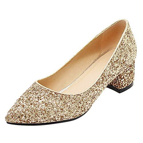 BeiaMina Damen Schuhe Mode Party Pumps Blockabsatz Pointed Toe Hochzeitsschuhe Glitzer Mid Heel Frühjahr-Sommer Abendschuhe Ohne Verschluss Gold Gr 39 Asiatisch