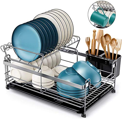 Homemaxs Dish Drying Rack,【2020 Newest】 2 Tier Small Kitchen Dish Rack and Drainboard Set, 304 Stainless Steel 17' x 11'x 6' Dish Rack for Kitchen Counter Unique U-Shaped Design Dish Holder