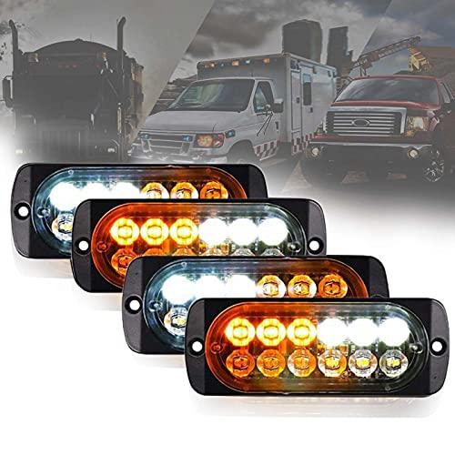 LED Luces de Advertencia de Emergencia,4Pcs 12 Luz Estroboscópica,Intermitente Emergencia,para Camiones de 12-24V Coche Luces Estroboscópicas Peligrosas Intermitentes