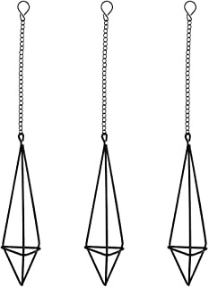 Nydotd 3 Pack Hanging Air Plant Holder Himmeli for Tillandsia Airplants Display (with Chains), Rustic Style Freestanding Wall Hanging Geometric Metal Tillandsia Air Plants Rack (Black- Triangular)