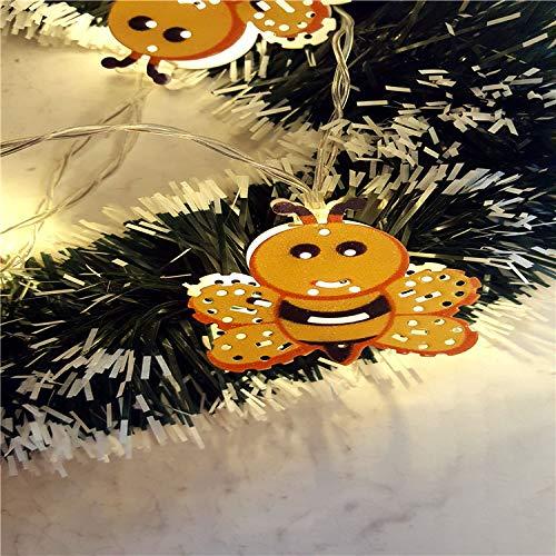 YLSMN Weihnachtslichterketten-Batterie-Kasten-Lichterkette malte Blatt-Erdbeerschneemann-Kaktus-Feiertags-Dekorations-Licht stillen