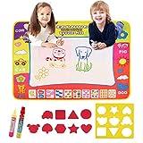 NEWSTYLE Acqua Doodle Tappeto, Tappeto da Disegno per Bambini, Tappeto Giochi Educativo Regalo Tappeto Magico con Penne Magiche e Timbri Strumenti di Pittura per Bambini