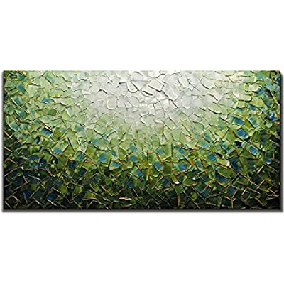 Yotree Paintings, 24x48 Inch Paintings Oil Hand Painting Painting 3D Hand-Painted On Canvas Abstract Artwork Art Wood Inside Framed Hanging Wall Decoration Green Teal Abstract Painting from Yotree