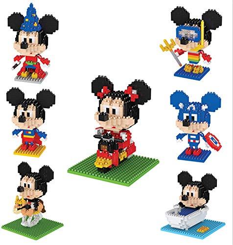 RSVT Mini Conjuntos De Bloques De Construcción, 7 Tipos Modelo De Figura Encantadora De Disney, Regalos De Cumpleaños (7 PCS)
