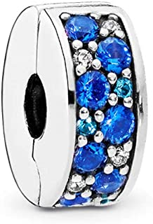 PANDORA Mosaic Shining Elegance Clip Charm, Sterling Silver, Multi-Colored Crystals, Clear Cubic Zirconia, One Size