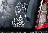 Sticker International Canna Corso - Adesivo Auto - Cane Firmare Finestrino, Paraurti Adesivi Regalo - V004 - Bianco/Trasparente - Esterno Stampa, 195x100mm