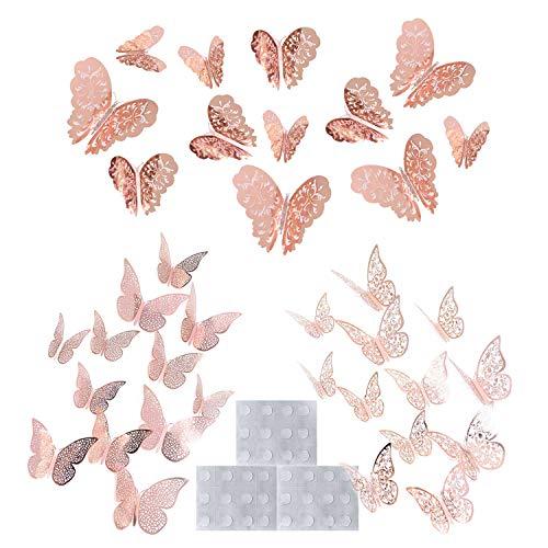 ARTISAN-SH 36 Pezzi farfalle 3D adesivi Decorativa Adesivi Murali FAI DA TE Art Decalcomanie Camera Da Letto Baby Decor Decalcomanie Rimovibile Decorativo Murale(Oro rosa)