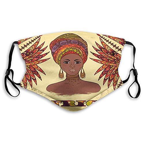 Máscara de carbón activado a prueba de viento, africano, mujer en turbante tradicional y palmas culturales arte gráfico popular, crema naranja, decoraciones faciales para adultos