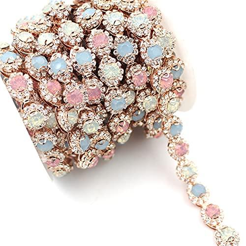 Cadena de Copa de Diamantes de imitación 1 Tamaño Color Cristal Jelly Rhinestone Ribbon Rose Gold Metal Cadena de Cristal, Adecuado para Ropa, Bolsas, Zapatos Accesorios Usado para; Coser/Adhesivo