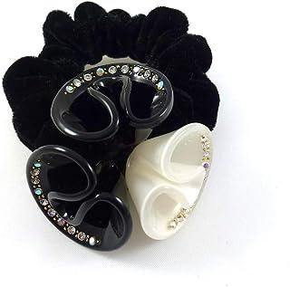 Rougecaramel Gumka do włosów, elastyczna, aksamitna, fantazyjna forma, kryształ, średnica motywu: 6 cm, czarna