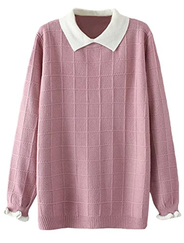 Minibee Women's Pan Collar Knitted Sweater Casual Pullover Sweatshirt Style1 Pink M