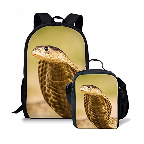 Amzbeauty 2 PCS Set of 17 Inch School Bags Insulated Lunch Bag for Kids Snake Print