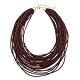 Bocar Multi Layer Chunky Bib Statement Seed Beads Cluster Collar Necklace for Women Gift (NK-10351-deep Wine)