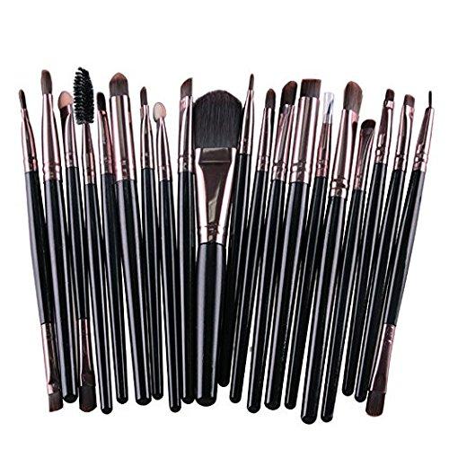 Kolight Lot de 20 pinceaux de maquillage pour fard à paupières et lèvres Noir + café.