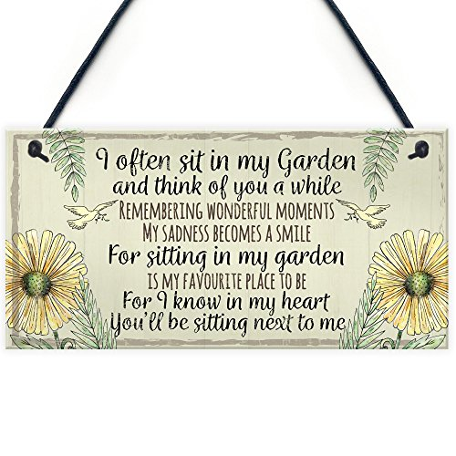 RED OCEAN Garden Plaque Summer House Sign Garden Shed Friendship Mum Nan Memorial Gift