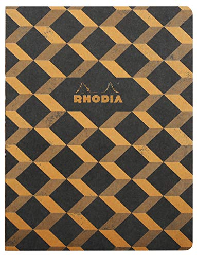 Rhodia Heritage Raw Binding Notebook, 190x250mm, Square ruling - Black Escher