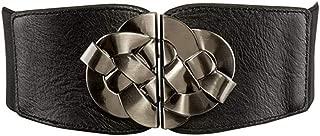 LUKEEXIN Women Leather Waist Belt Female Dress Shirt Dress Knitting Hardware Wide Belt (Color : Black)