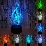 RUMOCOVO® Luce di notte Nota Musicale 3D Lampada Da Letto Luci Bambini Regalo Di Compleanno Natale Amante Regali di Musica D'atmosfera Lampada di Illuminazione