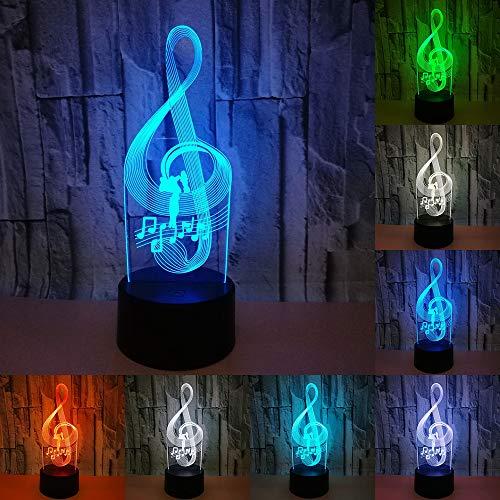 RUMOCOVO® Luce di notte Nota Musicale 3D Lampada Da Letto Luci Bambini Regalo Di Compleanno Natale Amante Regali di Musica Datmosfera Lampada di Illuminazione