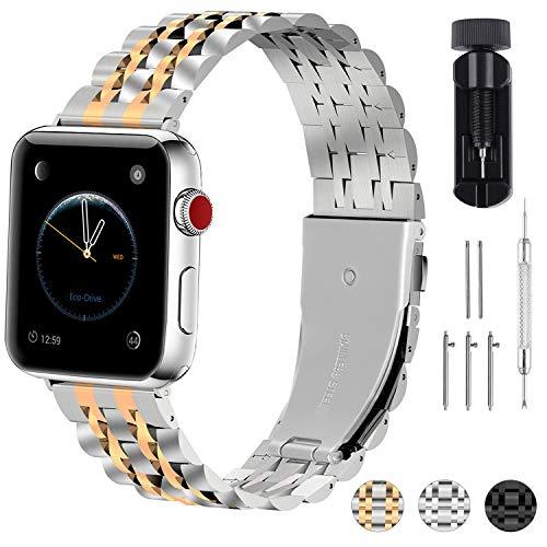 Fullmosa Cinturino per Apple Watch 42mm, Cinturini in Acciaio Inossidabile Compatibile con Apple Watch Serie 5 4 3 2 1, Armor Solid Cinturino per iWatch, 42mm Argento Opaco + Oro Lucido