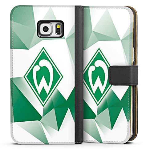 DeinDesign Klapphülle kompatibel mit Samsung Galaxy S6 Edge Plus Handyhülle aus Leder schwarz Flip Case SV Werder Bremen Tarnmuster Offizielles Lizenzprodukt