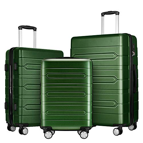 FOCHIER 3 PCS Luggage Sets Lightweight Hard Shell Suitcase with TSA Lock 360° Spinner Wheels 20'24'28',Green