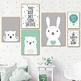 SDPYY Baby Rabbit Bear Alphabet Nursery Woodland Animal Poster Set Canvas Prints Wall art-40x60cmx1 30x40cmx2 20x30cmx2 Piezas sin Marco
